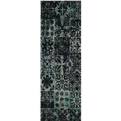 Goulburn Blue/Black Area Rug Rug Size: Runner 23 x 8