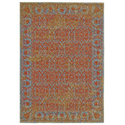 Yesica Orange Area Rug Rug Size: Round 8