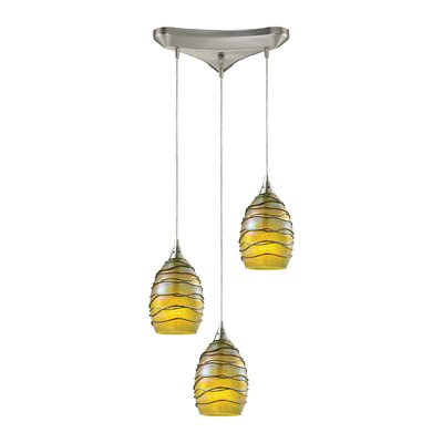 Angelika Modern 3-Light Kitchen Island Pendant Shade Color: Rhubarb