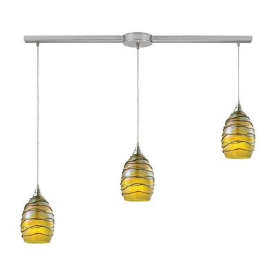 Angelika 3-Light Kitchen Island Pendant Shade Color: Rhubarb