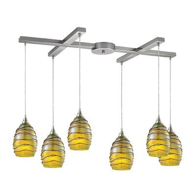 Angelika 6-Light Kitchen Island Pendant Shade Color: Rhubarb