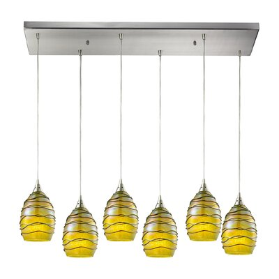 Angelika Modern 6-Light Kitchen Island Pendant Shade Color: Rhubarb