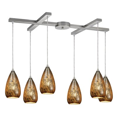 Marnie 6-Light Satin Nickel Kitchen Island Pendant