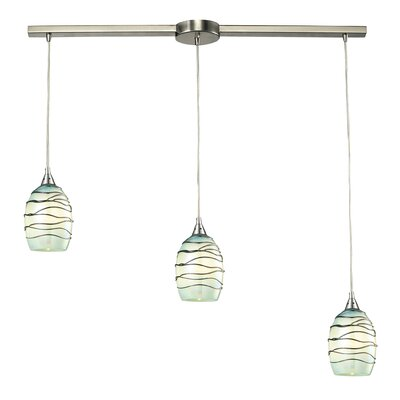 Angelika 3-Light Glass Shade Kitchen Island Pendant