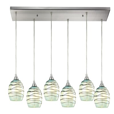 Angelika 6-Light Glass Shade Kitchen Island Pendant