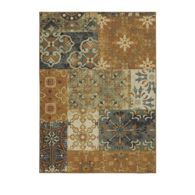 Castellano Wool Brown/Blue Area Rug Rug Size: Rectangle 5 x 7