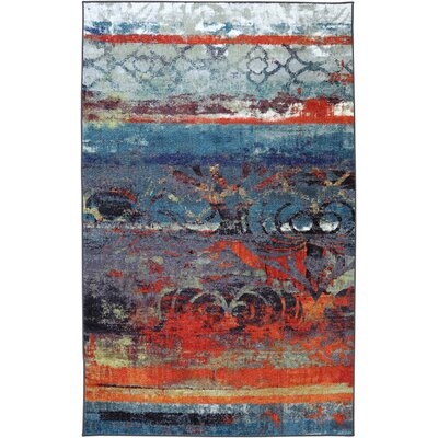 Vermont Blue/Red Area Rug Rug Size: 5 x 8