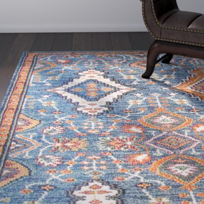 Brooklyn Orange/Blue Area Rug Rug Size: 53 x 77