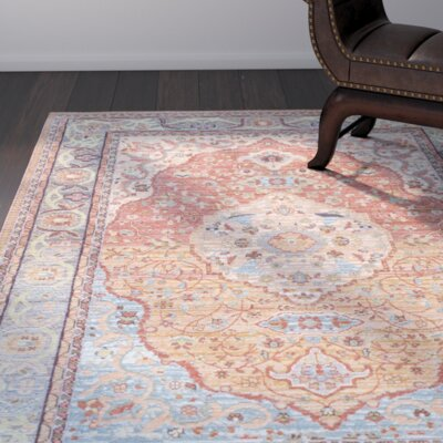Brighton Orange Area Rug Rug Size: 53 x 77