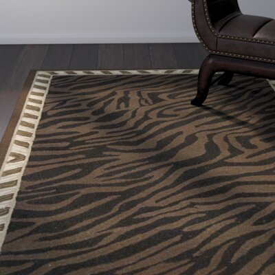 Skandar Hand-Hooked Wool Brown Indoor Area Rug Rug Size: Rectangle 39 x 59
