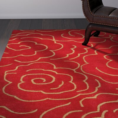 Karuna Hand-Tufted Red Area Rug Rug Size: Rectangle 36 x 56