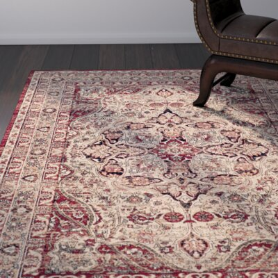 Leija Creme/Red Area Rug Rug Size: Rectangle 4 x 6
