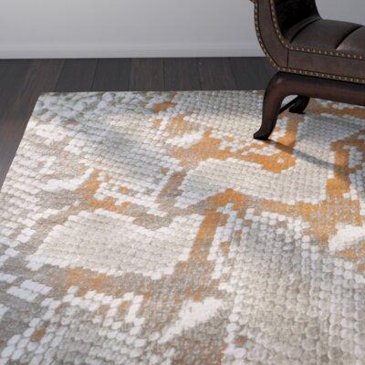 Fujii Light Gray/Orange Area Rug Rug Size: 22 x 3