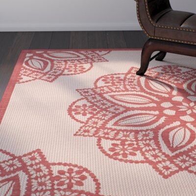 Catori Beige/Red Indoor/Outdoor Area Rug Rug Size: Runner 24 x 12