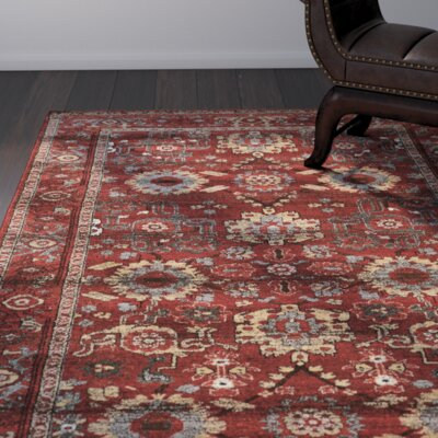 Shelie Heriz Red/Gray Area Rug Rug Size: Rectangle 5 x 76