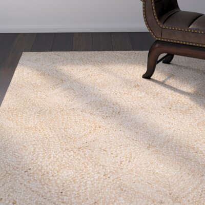 Abrahams Hand-Woven Beige Area Rug Rug Size: 5 x 8