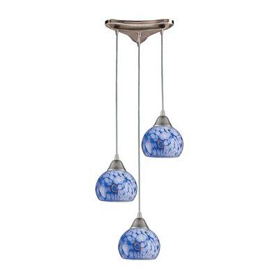 Kamina 3-Light Pendant Glass Type: Starlight Blue