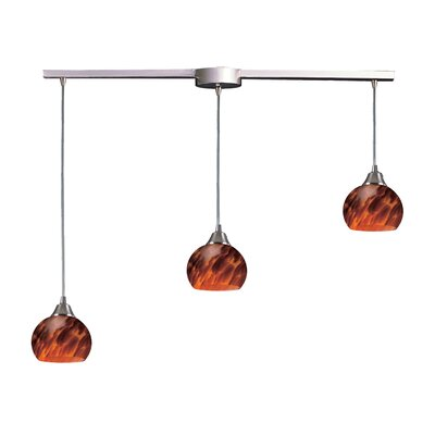 Angeletta 3-Light Linear Pendant Glass Type: Espresso