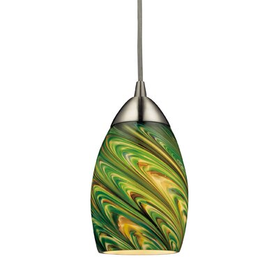 Angilia Modern 1-Light Mini Pendant Bulb Type: 100W Med. Bulb, Shade Color: Evergreen