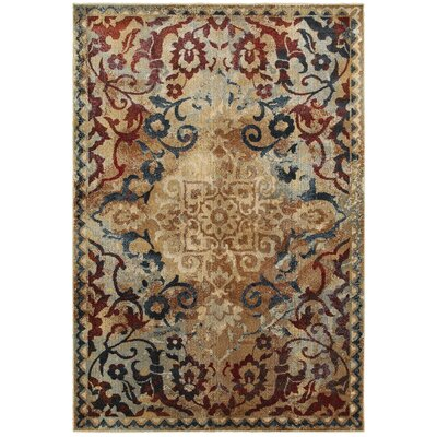Quenby Gold/Red Area Rug Rug Size: Rectangle 53 x 76