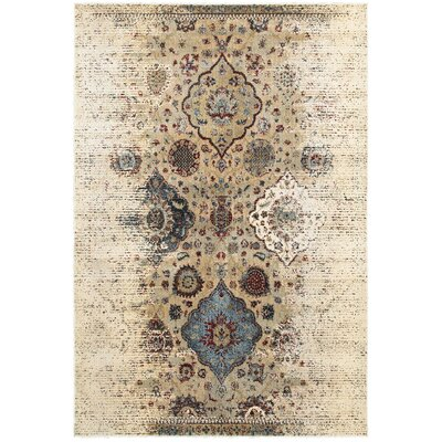Quenby Ivory/Blue Area Rug Rug Size: 910 x 1210