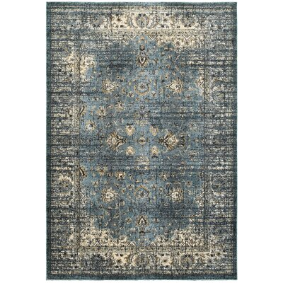 Harbor Blue/Ivory Area Rug Rug Size: 53 x 76