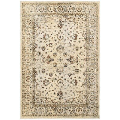 Quenby Traditional Ivory/Gold Area Rug Rug Size: 310 x 55