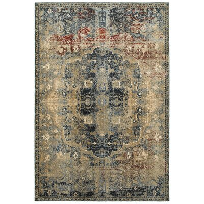 Harbor Gold/Blue Area Rug Rug Size: 53 x 76