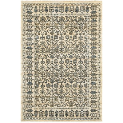 Quenby Traditional Ivory/Blue Area Rug Rug Size: 310 x 55