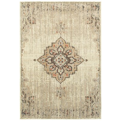 Sacha Ivory/Brown Area Rug Rug Size: Rectangle 310 x 55