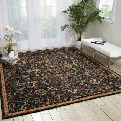 Sahana Black/Brown Area Rug Rug Size: 92 x 125