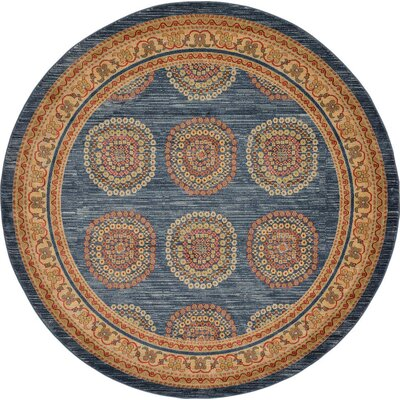 Virginia Blue/Brown Area Rug Rug Size: Round 8
