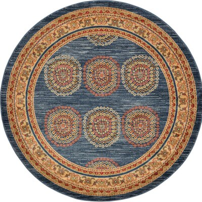 Virginia Blue/Brown Area Rug Rug Size: Round 6