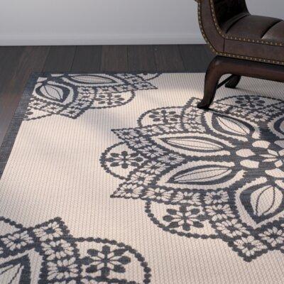 Catori Beige/Black Indoor/Outdoor Area Rug Rug Size: Round 67