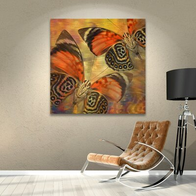 "Golden Butterflies II Graphic Art on Wrapped Canvas Size: 10"" H x 10"" W WDMG3289 33283397"