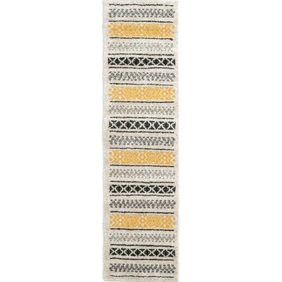 Lucy Beige/Yellow/Black Area Rug Rug Size: Runner 27 x 10