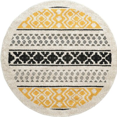Lucy Beige/Yellow/Black Area Rug Rug Size: Round 8