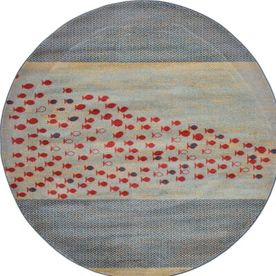 Jan Gray/Red/Beige Area Rug Rug Size: 7 x 10