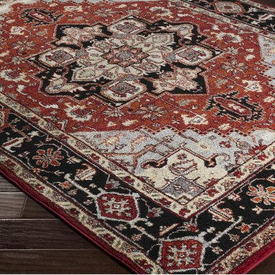 Brahim Gray/Red Area Rug Rug Size: 93 x 126