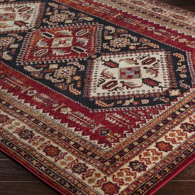 Brahim Red/Brown Area Rug Rug Size: Rectangle 93 x 126