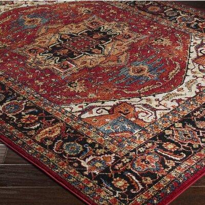 Brahim Red/Black Area Rug Rug Size: 67 x 96