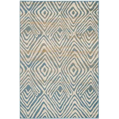 Vadim Ivory/Light Blue Area Rug Rug Size: Square 6'7