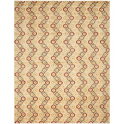 Yassin Hand-Knotted Ivory Area Rug Rug Size: Rectangle 9 x 12