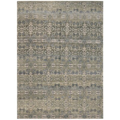 Yassin Hand-Knotted Sky/Gray Area Rug Rug Size: Rectangle 10 x 14
