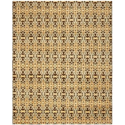 Yassin Hand-Knotted Chocolate/Gold Area Rug Rug Size: 8 x 10