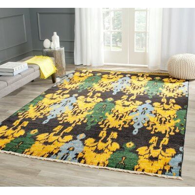 Almeda Hand-Knotted Black/Gold Area Rug Rug Size: Rectangle 9 x 12