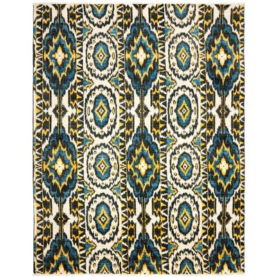 Almonburry Hand-Knotted Ivory/Blue Area Rug Rug Size: 6 x 9