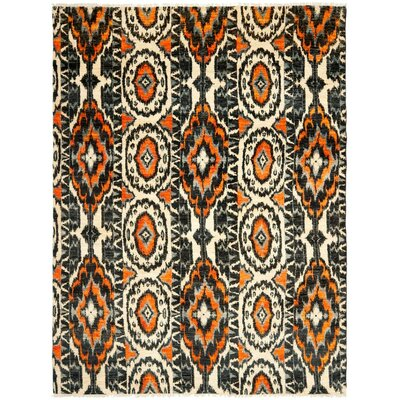 Almonburry Hand-Knotted Ivory/Rust Area Rug Rug Size: Rectangle 6 x 9