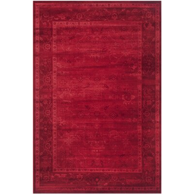 Emily Red Area Rug Rug Size: Rectangle 51 x 76