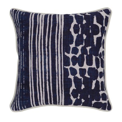 Pennie Linen Throw Pillow Color: Blue/Beige
